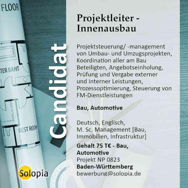Projektleiter Innenausbau/ Facility Manager 0823