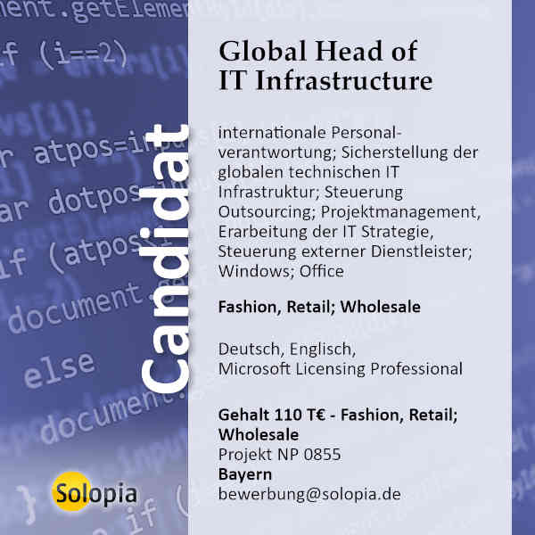 Global Head of IT Infrastructure 0855