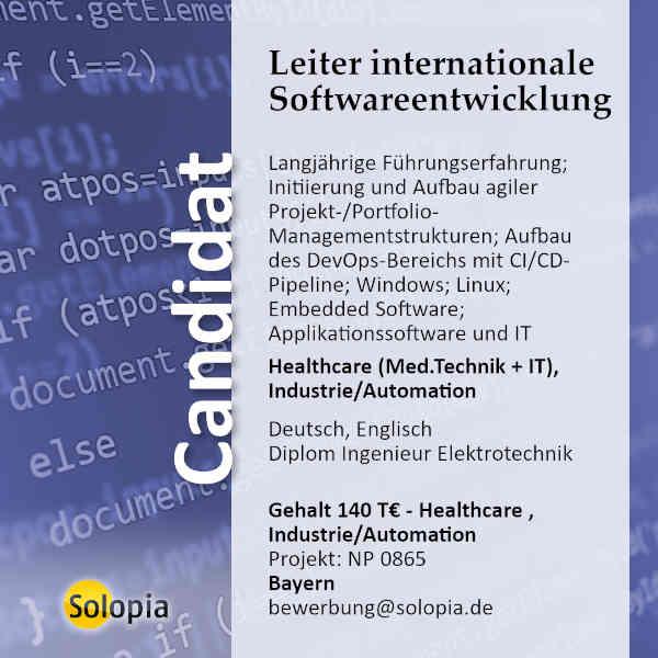 Leiter internationale Softwareentwicklung